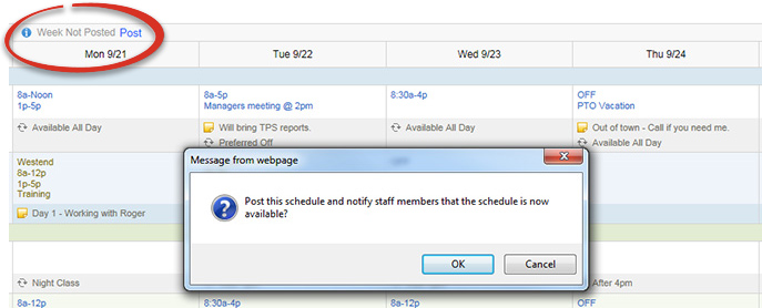 Post Work Schedules Automatically
